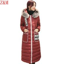 Winter Coat long over knee self-thickening cotton Parka women's fur collar stitching down jacket