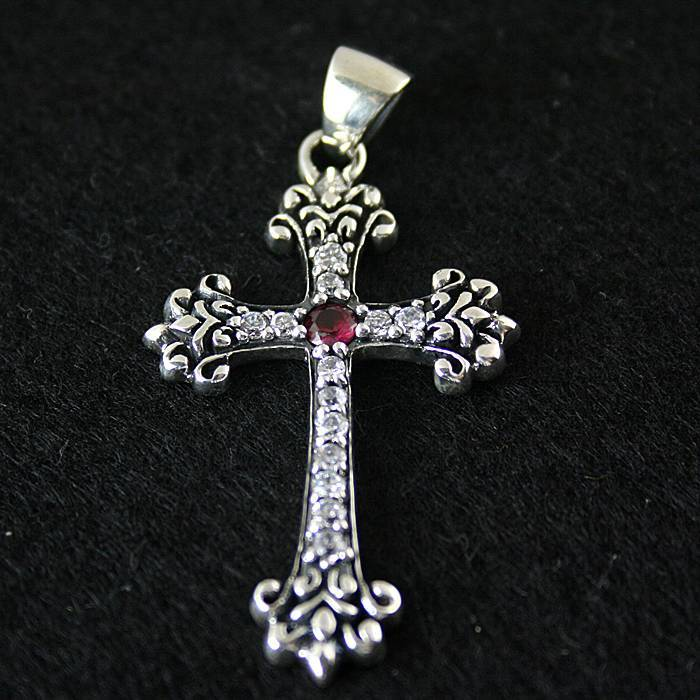 925 pure silver vintage cross inlaying  pendant
