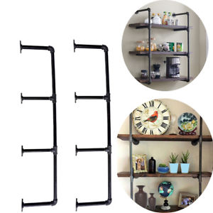 Retro Pipe Shelf Wall Mounted Industrial Style Floating Shelves Ceiling Bracket Bookshelf Bookcase free shipping iron wood american country metal pipe bookshelf retro shelf shelves showcase industrial pipes bookcase shelf z21