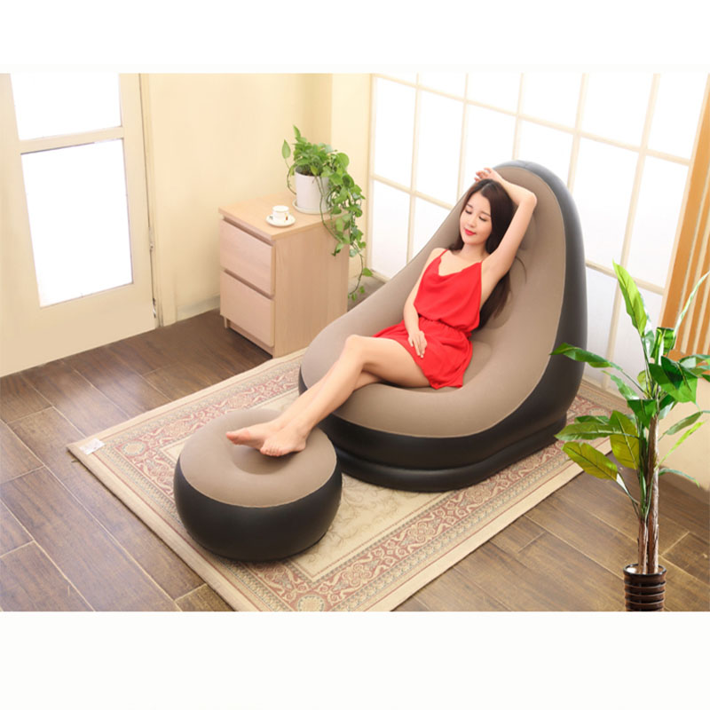 indoor and outdoor living room flocking PVC inflatable sofa lounge chair with foot inflatable game inflatable lounge chair soft bean bag chair inflatable office lounge chair purple pink green living room bean bag sofa chair inflatable lounge chair