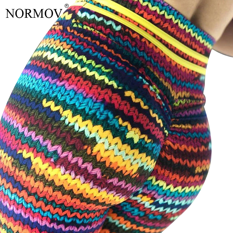 NORMOV Knitted Printed Leggings Women Sportwear High Waist Trousers Female Fitness Colorful Stripe Print Push Up Legging Femme