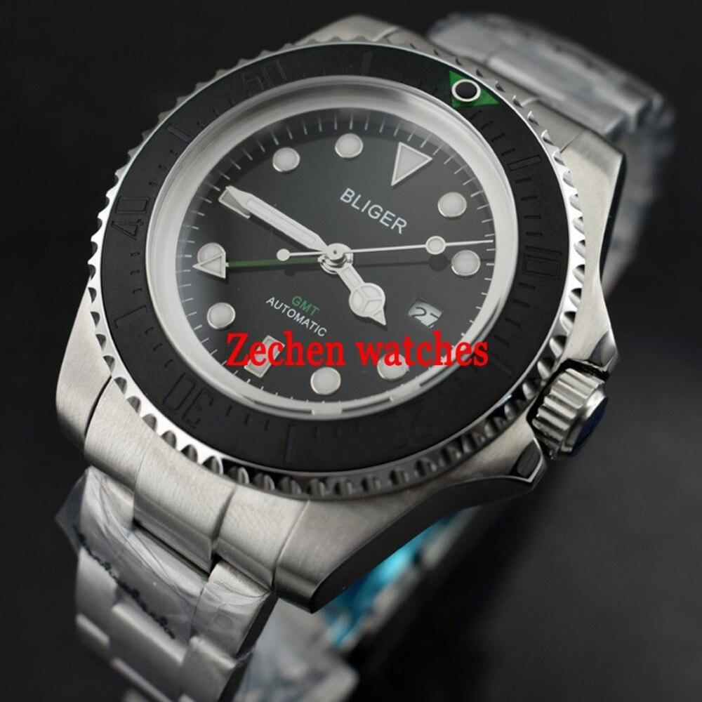 43mm Bliger GMT Automatic Mechanical Luminous hands Mens Steel Watch WristWatch цена и фото