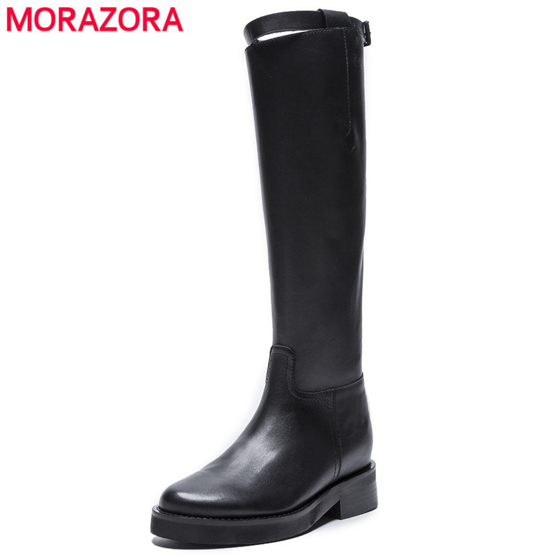 MORAZORA 2020 top quality genuine leather knee high boots women round toe square heels autumn boots