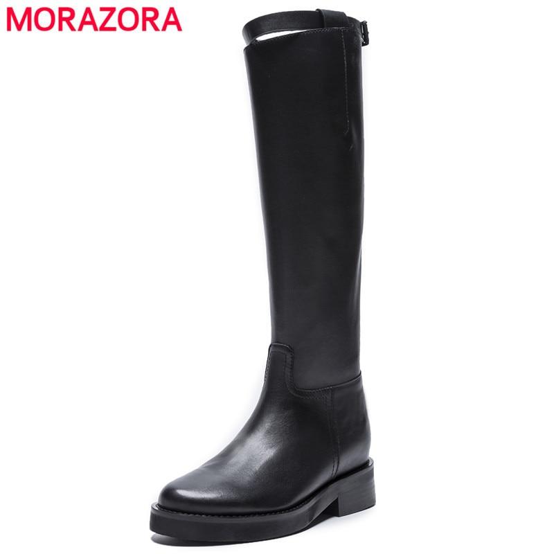 MORAZORA 2020 أعلى جودة جلد طبيعي حذاء برقبة للركبة المرأة جولة تو الكعوب مربع الخريف الأحذية سستة أحذية أنيقة امرأة-في بوت للركبة من أحذية على  مجموعة 1