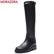 MORAZORA 2020 أعلى جودة جلد طبيعي حذاء برقبة للركبة النساء جولة تو ساحة الكعوب الخريف الأحذية سستة أحذية أنيقة امرأة