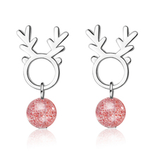 Everoyal Lady Charm Crystal Pink Elk Women Earrings Female Jewelry Vintage 925 Sterling Silver For Girl Accessories