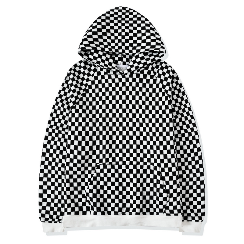 QoolXCWear Plaid Lattice Grid Hoodie Men Justin Bieber Chess FOG Hip Hop Skateboards Cotton 100% Fleece Vintage Sweatshirts Men