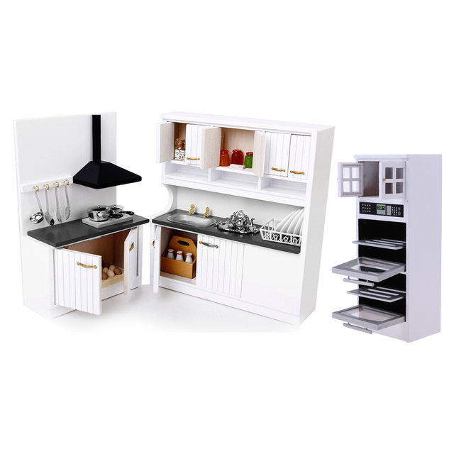 Luxury Miniature Wood Microwave Cabinet Kitchen Stove Cupboard 1/12 Dolls  House Furniture Room Items