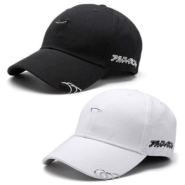 073fa193ecb31 Fashion Unisex Sport Baseball Cap Sun Hat Solid Ring Pin Curved Hat Black  White Outdoor For Women Men 1 PC
