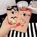 Para iphone 6 6 s plus 5S anillo caso espejo diamante pata de cabra teléfono para el caso de samsung s5 s6 edge plus nota 4 5 de silicona suave cubierta