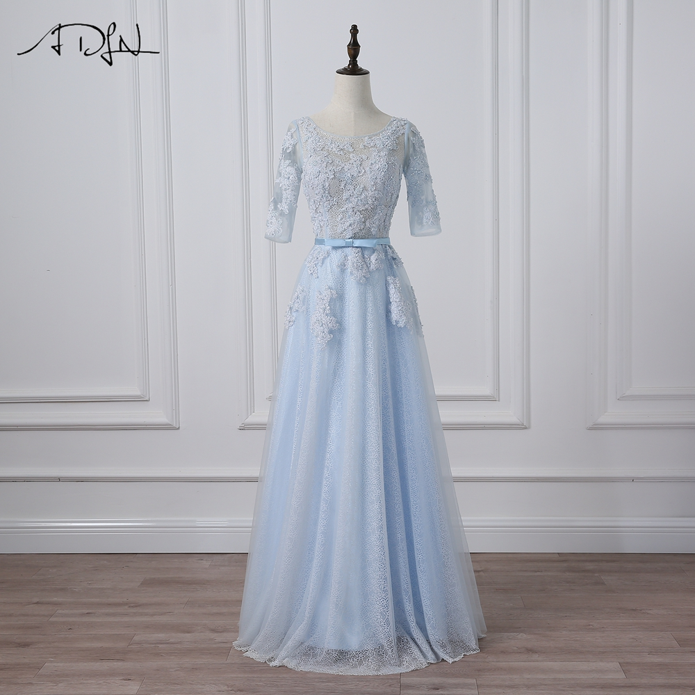ADLN Cheap Prom Dresses Light Blue Three Quarter Sleeves A-line Long ...
