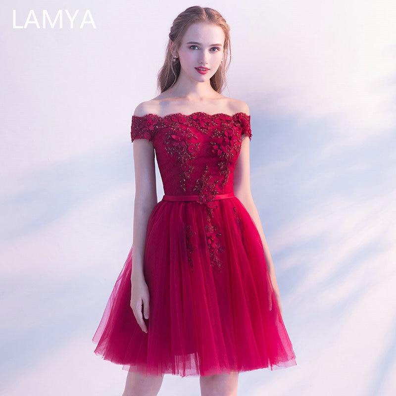 LAMYA Princess Short Elegant Evening Dress Appliques Ball Gown Formal Party Gown Plus Size Boat Neck Robe De Soiree