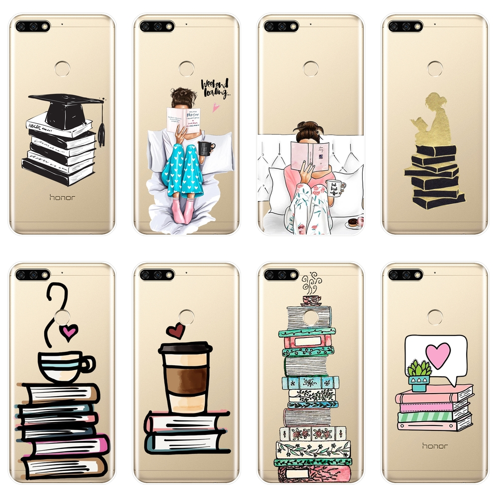 Phone <font><b>Case</b></font> For Huawei <font><b>Honor</b></font> 7 8 9 10 Lite <font><b>7S</b></font> 7X 7A 7C Pro <font><b>Silicone</b></font> Soft Book Girl Back Cover For Huawei <font><b>Honor</b></font> 8X MAX 10 9 8 <font><b>Case</b></font> image