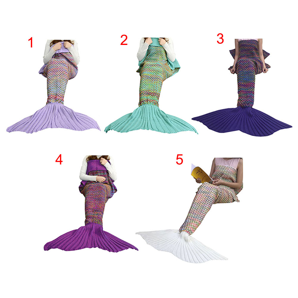 180*90CM Fashion Adult Mermaid Tail Quilt Blanket Knitted Crochet Wrap Costumes For Sofa Couch Bed Car -MX8