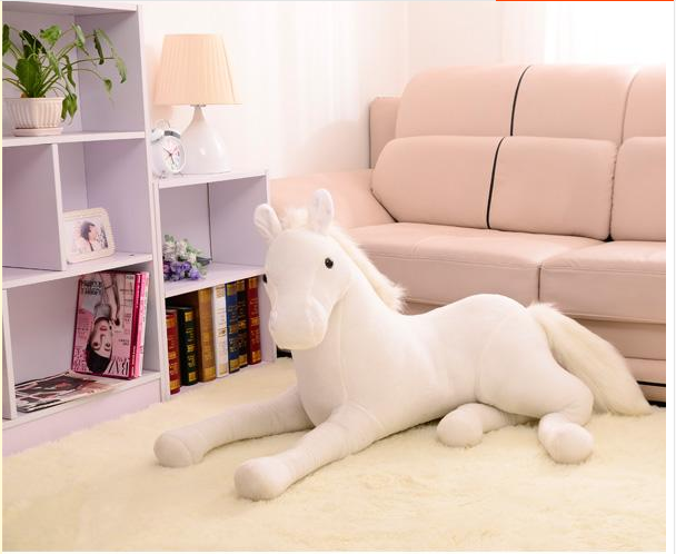new simulation plush horse toy white stuffed horse doll gift about 70cm
