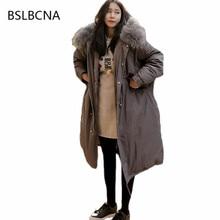 Vintage 2019 abrigo de invierno para mujer estilo coreano Parka femenina cuello de pelo grande ajustado mujer prendas de vestir exteriores cálido Chaqueta larga de algodón A88