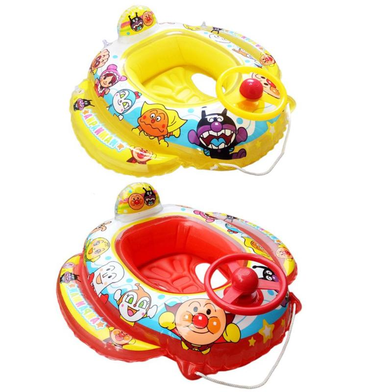 Cartoon PVC Baby Inflatable Floating Swim Pool Steering Wheel Swimming Seat Ring Circle with Trumpet Kids Water Trainer Toy