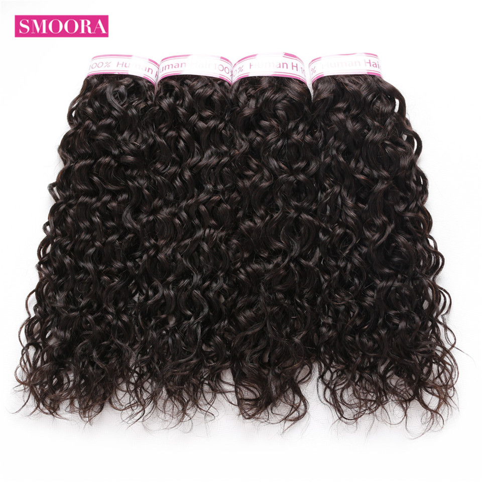 Smoora indian water wave remy hair extension ,human hair weave bundles 4 bundles /lot natural color 1b can be dyed free shipping