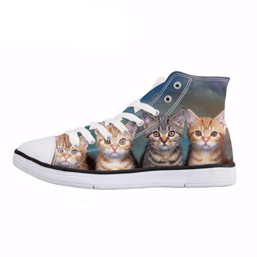 NOISYDESIGNS Cat Puzzle Print Women High Top Vulcanize Shoes Fashion Lace Up Canvas Shoes Female Girls Comfort Sneaker Shoes