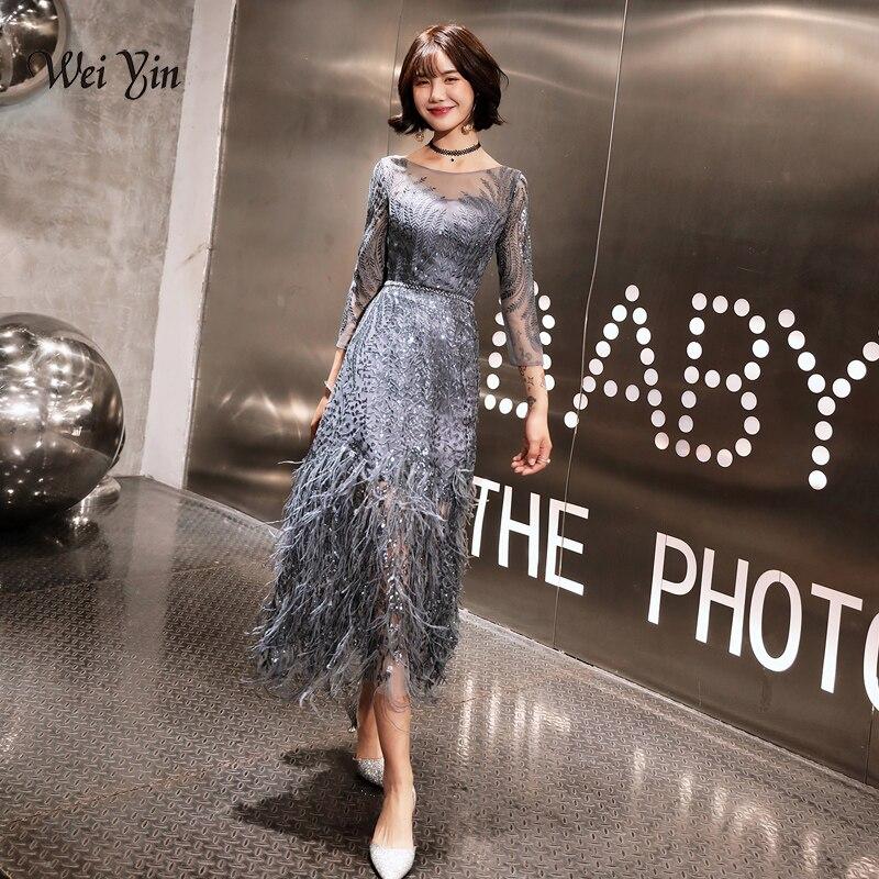 Weiyin nouveau Style thé longueur gris robes de soirée 2019 plumes formelle robes de bal Bestido de festa Abiye noir robe de soirée