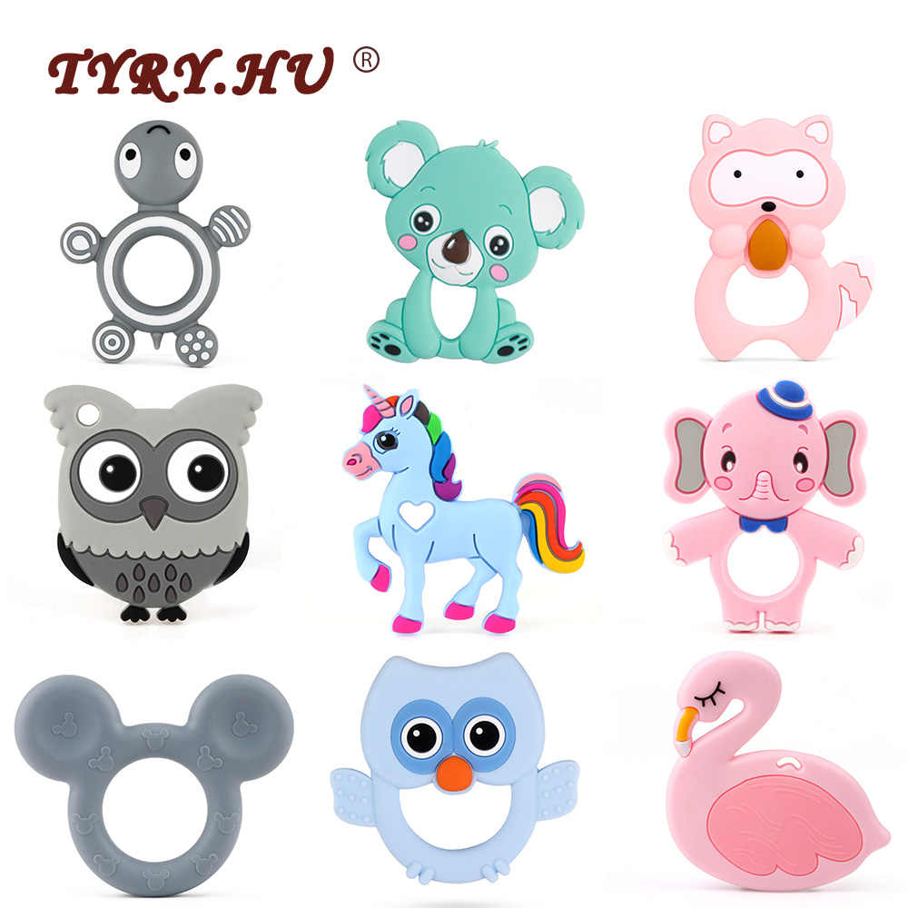 TYRY.HU Cartoon Baby Silicone Teethers Koala Owl Elephant Baby Ring Teether Silicone Chew Charms Baby Teething Gift Toddler