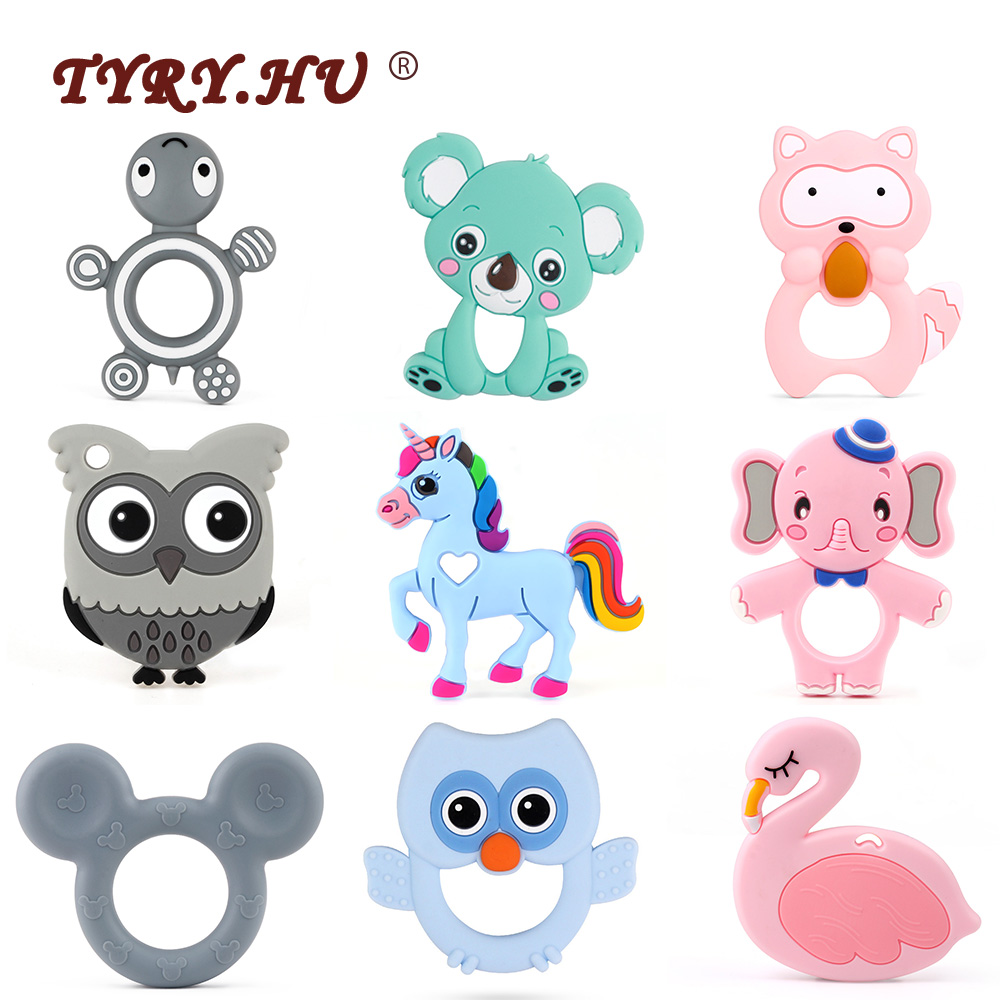 TYRY.HU Cartoon Baby Silicone Teethers Koala Owl Elephant Baby Ring Teether Silicone Chew Charms Baby Teething Gift Toddler