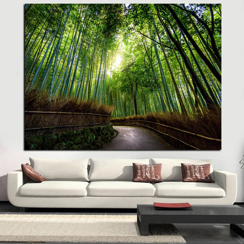 Tamaño grande Paisaje moderno Lienzo Pintura Kyoto Japón Bamboo Forest Mountain Paths HD Print Wall Art Living Room Cuadros Decor