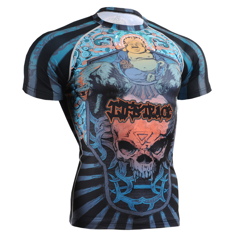 brand short sleeve training shirt t-shirt functional exercise shirts man sliming fit clothes for outdoor activities fighting
