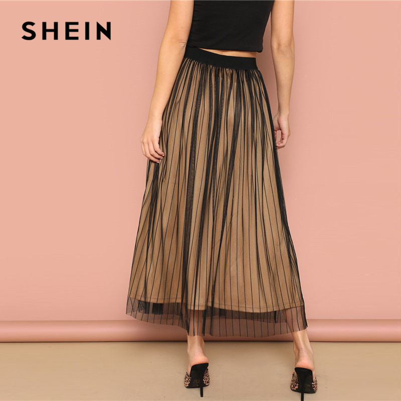 Image 2 - SHEIN Black Elastic Waist Striped Mesh Overlay Mid Waist Solid Maxi Skirt Lady Spring Casual A Line Sheer Pleated Midi Skirt-in Skirts from Women's Clothing