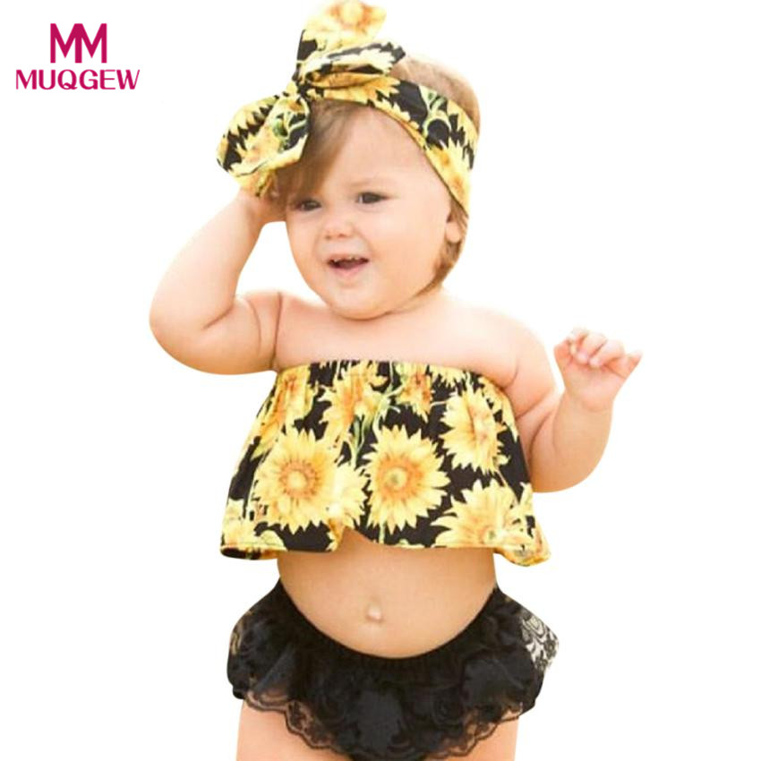 Popular Fashion Newborn Baby Girl Sunflower Off Shoulder Blouse Tops Shirt+Lace Ruffles Shorts Pants Clothes Sets Outfit Vestido