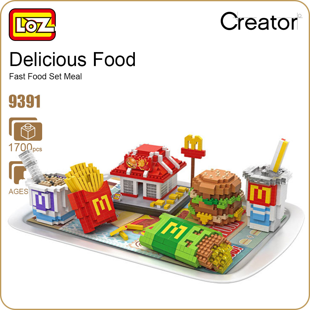 LOZ Diamond Blocks Fast Food Set Meal Building Block Food Fries Hamburgers Assembly Model Nano Bricks Micro Blocks Toys DIY 9391 loz diamond blocks dans blocks iblock fun building bricks movie alien figure action toys for children assembly model 9461 9462