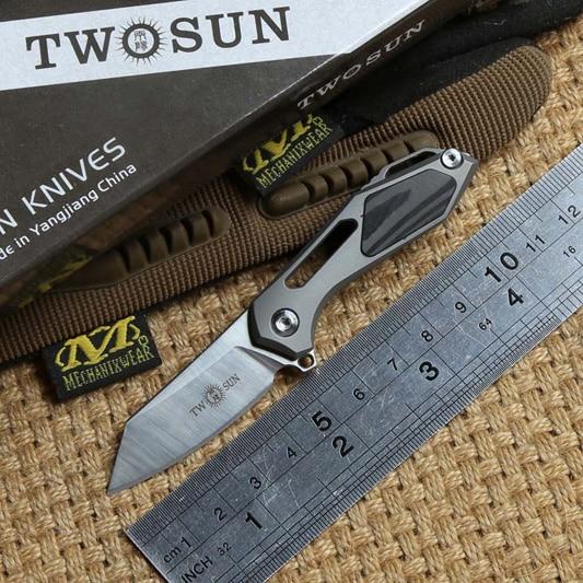 TWO SUN TS35 M390 blade Flipper ball brearing mini folding knife titanium camping hunt Pocket knives outdoor Survival EDC Tool