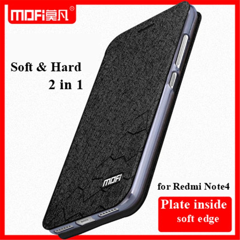 best loved ea207 8caaa For Xiaomi Redmi Note 4 Case Original MOFI Flip Leather Case for Red Rice  Note 4X Hongmi Note 4X Pro Stand Function Screen film-in Flip Cases from ...