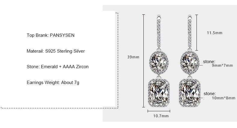 HTB1uaAcShTpK1RjSZFKq6y2wXXaw PANSYSEN 2019 Luxury Natural Emerald Women's Drop Earrings Genunie 925 silver Jewelry Earrings For Women Party Engagement Gifts
