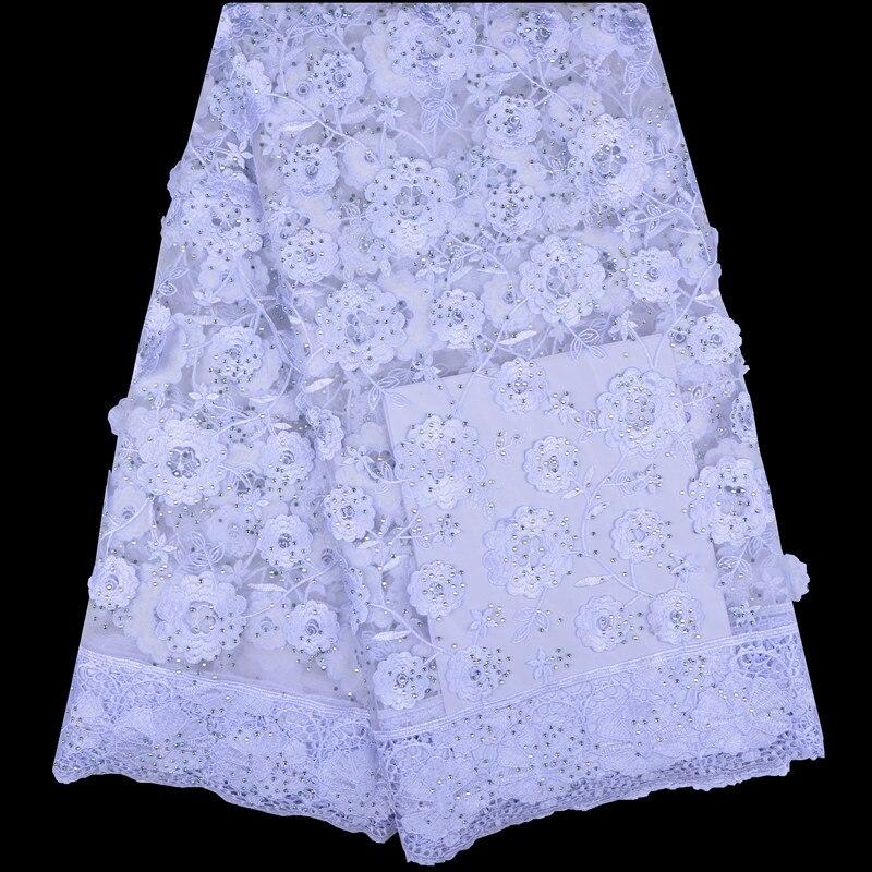 Dla nowożeńców nigeryjska koronka na ślub materiały 3D koronki tkaniny wysokiej jakości afryki koronki tkaniny na sprzedaż koronkowa tkanina z koralikami biały F1227 w Koronka od Dom i ogród na  Grupa 1