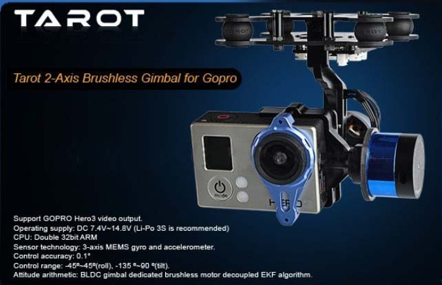 Promotion + livraison gratuite nouveau cardan sans balai 2 axes pour Gopro 2/3 avec Gyro TL68A00 Tarot 2-TD FPV caméra sans balai cardan