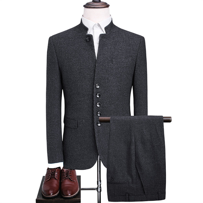 Men's blazers autumn and winter Chinese business casual woolen thick high-end Chinese stand collar suit 2 sets (coat pants)