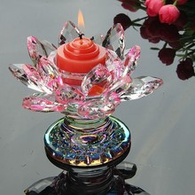Colorful Lotus Crystal Candle Stand Candlestick Holder Creative Flower Crafts Paperweight Fengshui Buddha Decor Ornament