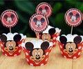 Mickey mouse envoltórios do queque & toppers pega decoração festa de aniversário crianças suprimentos fontes do chuveiro de bebê (12 pcs wraps + 12 chapéus de coco)