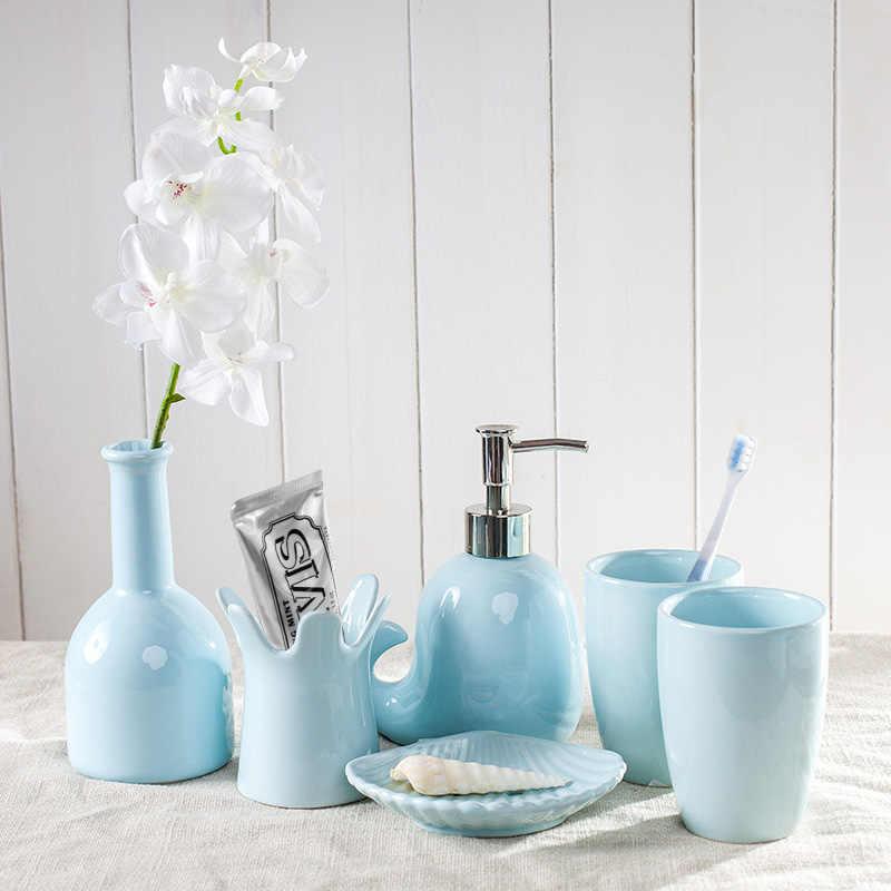 5 sztuk/zestaw śliczny wieloryb kształt jednolity kolor ceramiczne mycia zestaw kreatywny akcesoria łazienkowe zestaw prezent ślubny