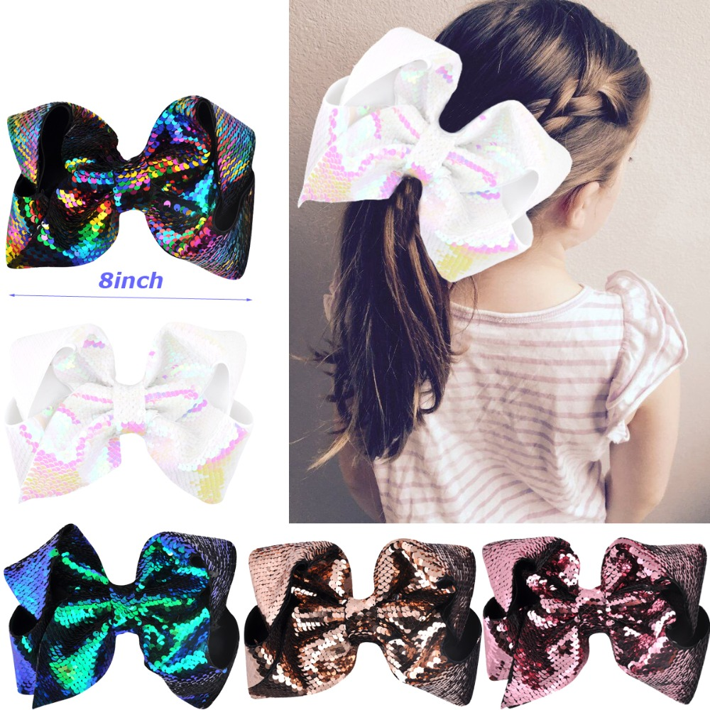8 inch Women Mermaid Scale Sequin Grosgrain Ribbon Hair Bow Alligator Clips Bowknot   Headwear   Children Girls Hair Accessories
