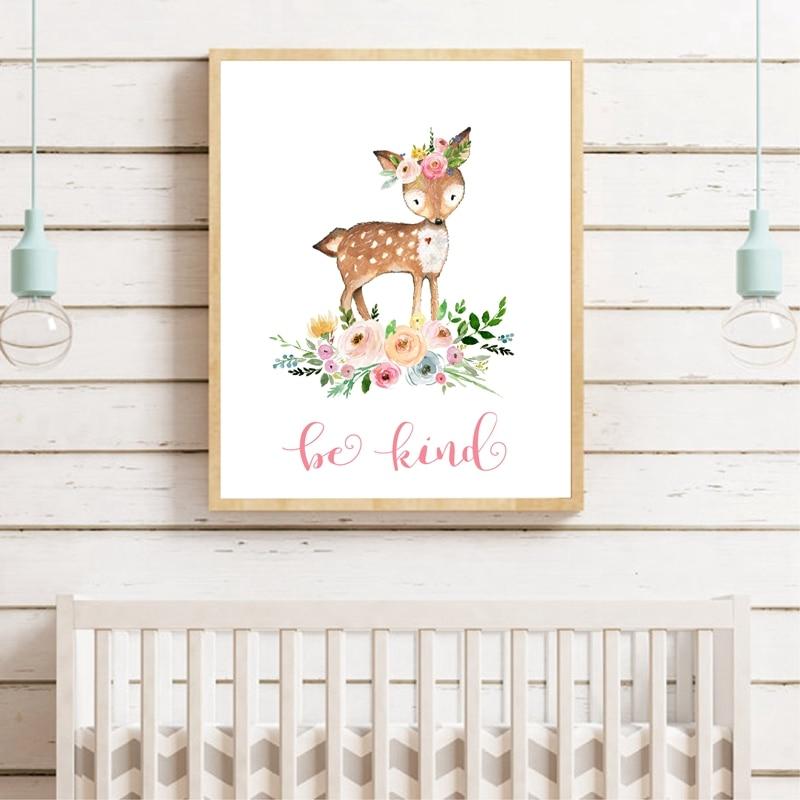 Woodland Animals Poster Pink Baby Shower Decor