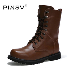 PINSV Winter Shoes Men Motorcycle Boots Fur Men Military Boots Men Work Shoes Black Tactical Boots Chaussure Homme Size 38-47