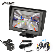 купить Jansite 4.3 TFT LCD Car Monitor HD Display Wireless camera Reverse Camera Paking System For Auto car Rearview Monitors NTSC PAL дешево