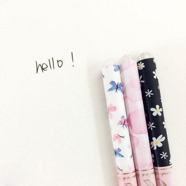 N27 3X Элегантный Цветок Бабочка Европа Стиль Гелевая Ручка Написание Подписание Ручка Студент Канцелярские Школа Канцелярских Товаров