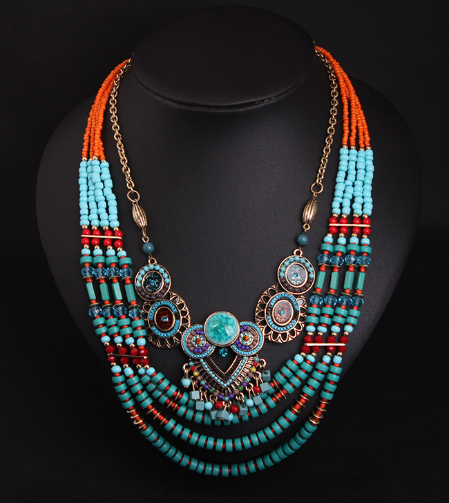 Female Vintage Necklace Statement Jewelry Bohemian Style Multilayers Cocktail Luxury Strands Bead Chain Necklace for Women