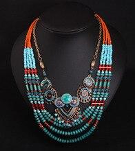 Genuino de La Turquesa Colgante Collar de la Mujer Traje de Joyería de La Vendimia de Múltiples Capas Accesorios Collar de Cadena Del Grano Del Diseño de Lujo de Cóctel
