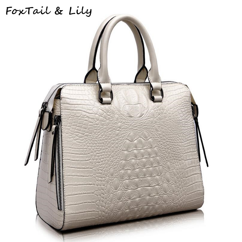 FoxTail & Lily Crocodile Women Genuine Leather Embossed Bag Famous Designer Handbags Luxury Quality Shoulder Messenger Bags fashionable women casual high quality crocodile embossed genuine leather small mini messenger bag