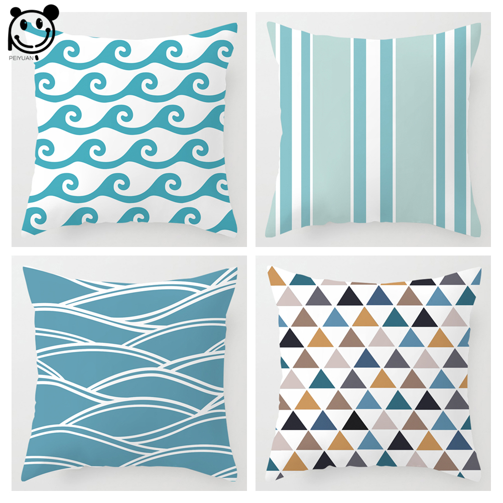 PEIYUAN Fresh and Bright Stripes Pillowcase Blue Water Ripples Pillow Case Polyester Microfiber Soft Cushion Covers