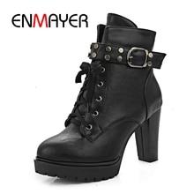 ENMAYER Big size 34-39 fashionwinter women boots wedges high heels shoes woman  ankle platform ZYL086